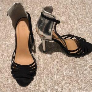 XXI black/silver heels Sz-7